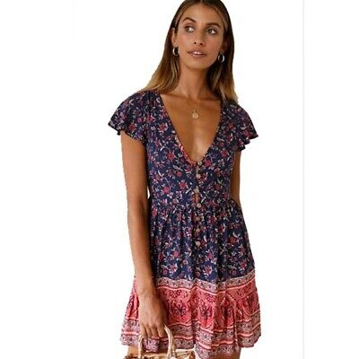Short Summer Women Mini Dress Party Evening Sundress Floral Boho Holiday Beach