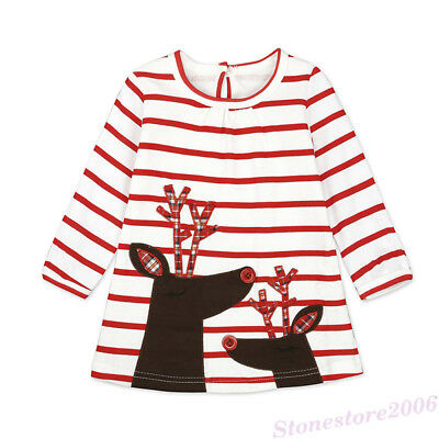 Xmas Toddler Kids Baby Girls Christmas Shirt Dress Princess Outfits Clothes New