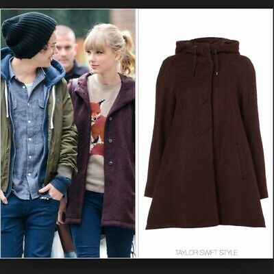 Topshop Iconic Burgundy Maroon Wine Red Celeb Button Parka Pea Coat Vtg 8 4 36 S