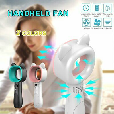 360 Degrees Portable Bladeless Hand-Held Cooler Mini USB No Leaf Handy Fan WR