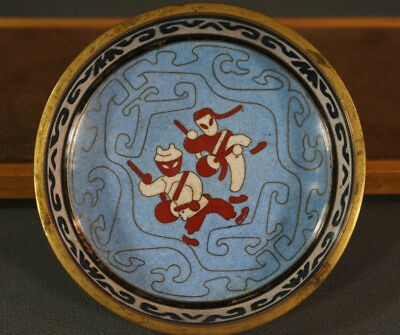 Vtg.China Cloisonne Enamel over brass-work Salad Dish Tray Bowl Saucer Plate Cup