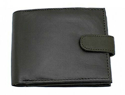 RAS WALLETS Mens RFID Blocking Soft Genuine Leather Bifold Wallet with Black