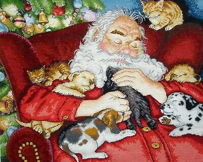 Dimensions Gold Completed Counted Cross Stitch Unframed Picture Santas Nap