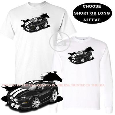 Ford Mustang Pony Racing Stripe 5.0 Muscle Shelby Long Sleeve T-Shirt Front Back Print