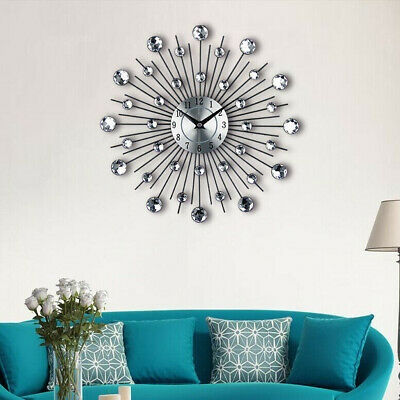 33cm Silver Sunburst Wall Clock Diamante Beaded Jeweled Round Metal Home Decor