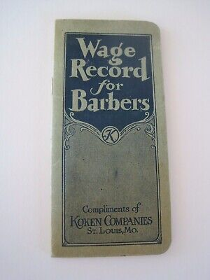 Booklet Wage Record For Barbers