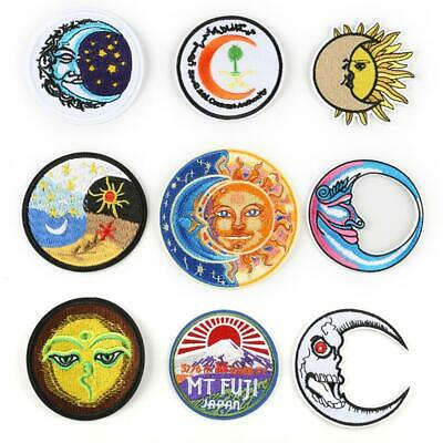 Sun Moon Embroidered Sew Iron On Badge Patches Clothing Fabric Applique DIY New