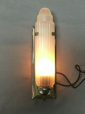 Vtg Chrome Brass Art Deco Sconce Frosted Skyscrapper Cylinder Shade 322-19E