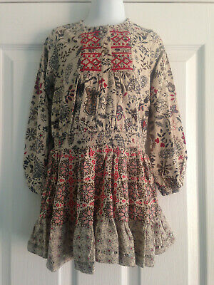 BNWT NEXT Girls Neutral Floral Print Long Sleeved Embroidered Jersey Dress 3-4 Y
