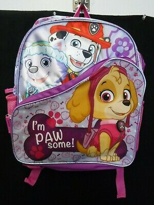 Girls Nickelodeon Paw Patrol Pink Purple Backpack School New #17374