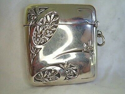 c1910 ANTIQUE French Silver ART NOUVEAU Vesta Case CHERRIES Matchsafe