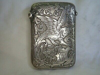 c1900 ANTIQUE French Silver ART NOUVEAU Vesta Case MATCHSAFE Gothic GRIFFIN