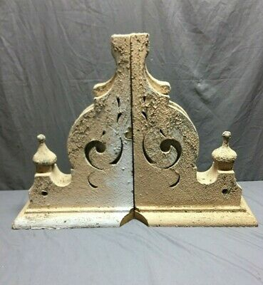 Pair Antique Roof Corbels Shelf Brackets 16x24 Shabby Vtg Chic Finials  20-19B