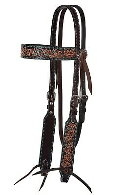 urquoise Buckstitch Browband Headstall for Horses Multi toned leather