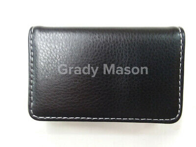 Personalized Mens Pocket Leather Business Card Holder Case Magnetic Shut FreeShp