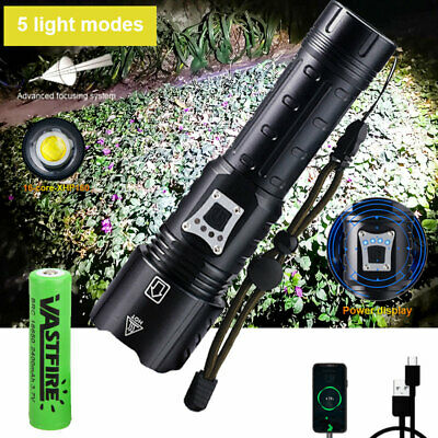 900000 Lumens Zoomable XHP70 LED USB Rechargeable Flashlight Torch Ultra Bright