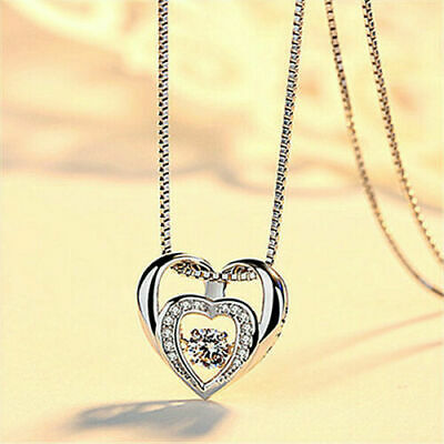 Double Heart Pendant 925 Sterling Silver Jewellery Necklace Chain Women Xma gift