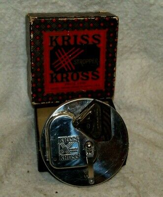 Vintage early 1920`s Kriss Kross Safety Razor Stropper in box Works Made in USA