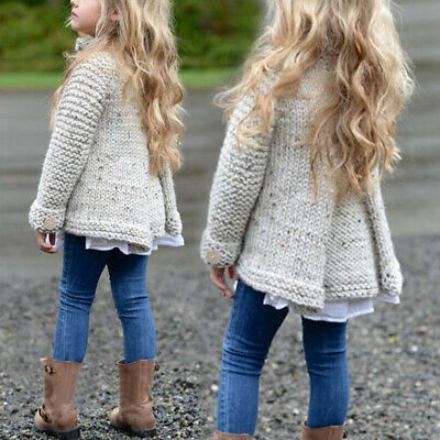 Girls Crewneck Long Sleeve Knitted Sweater Cardigan Coat Jacket Autumn Fashion