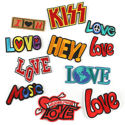 DIY Loves Words Embroidered Sew Iron On Badge Patches Clothing Fabric Applique