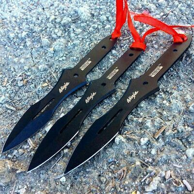 "3PC 6.5"" Tactical Ninja Combat Naruto Kunai Throwing Knife Set Hunting W Case"