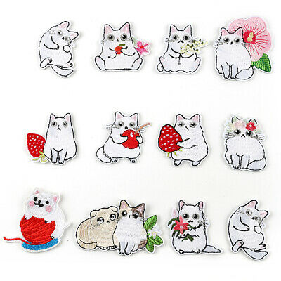 Cute White Cat DIY Embroidered Sew Iron On Patches Badge Fabric Applique Sticker