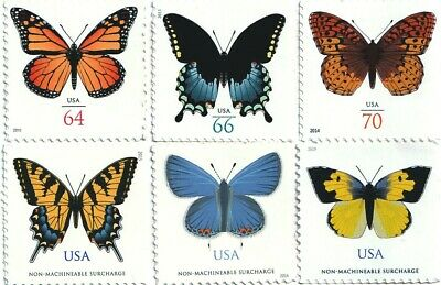 US Butterflies - 6 Single Postage Stamps 4462, 4736, 4859, 4999, 5346, 5136