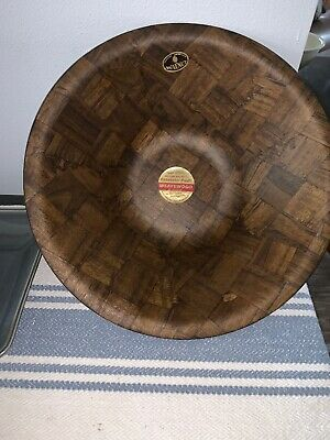 "Weavewood Walnut Salad Bowl  14"" large bowl MCM Vintage New"