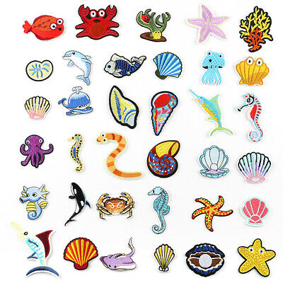 Sea Animals DIY Embroidered Sew Iron On Patches Badge Fabric Applique Sticker