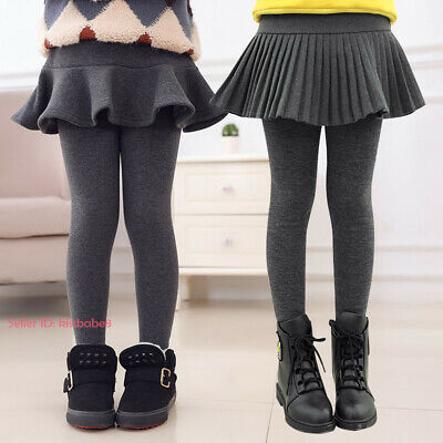 Kids Girl Stretch Thermal Cotton Leggings Fleece Lined Pant Winter Skirt Trouser