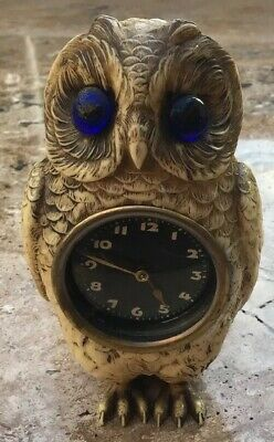 Unusual Antique Celluloid Clock In The Form Of An Owl With Glass Eyes