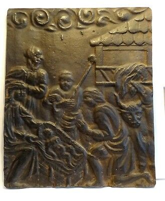 Plate Cast-Iron Antique - Nativity - 18° S Ancient Iron Relief Flat - Navity