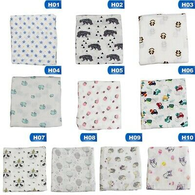 Soft Large 100% Cotton Muslin Swaddle Squares Blanket for Baby 120x120cm Stylish