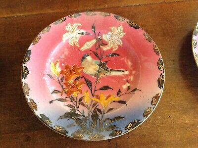Set of 4 Antique Japanese Hand Painted Plates Signed on back Free Shipping L@@K!