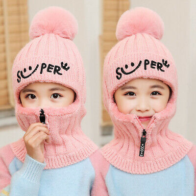 Kids Girls Winter Warm Hats Child Boys Fleece Hood Scarves Balaclava Skiing Caps
