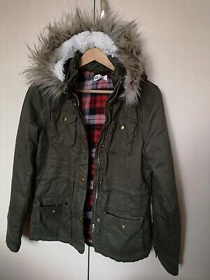 Girls H&M furry hooded Jacket Coat zip up age 12 13 14 100% cotton lining