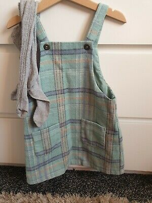 Next Green And Blue Pinafore And Tights 3-4