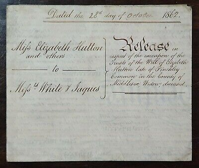 1862 Vellum Indenture Hutton of Finchley Common to White & Jaques