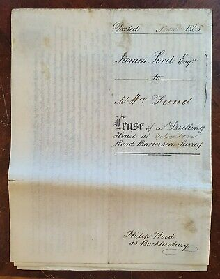 1868 Vellum Indenture Lord to Froud for House at Yelverton Road, Battersea