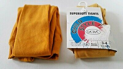 Girls supersoft tights 2 pairs yellow shades one gold one pumpkin Age 3 - 4 NWT