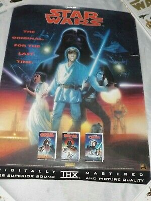 STAR WARS THE ORIGINAL FOR THE LAST TIME 83cm X 59cm POSTER-CBS FOX VIDEO 1995