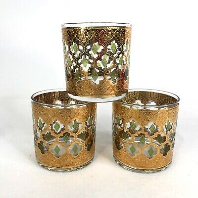 3 Culver Valencia Cocktail Glass Tumbler Lowball Rock Gold Barware Old Fashion