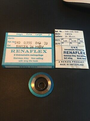 Swiza 26 New Mainspring 2.40x0.195x 840x 20 Old New Stock Unused