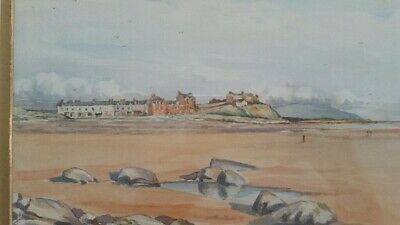 Early 20th century (1928) watercolour Seascale Cumbria, beach view
