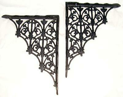 pair Gothic Victorian style Cast Iron Shelf Brackets 9 & 3/4 by 7 & 1/2 inch