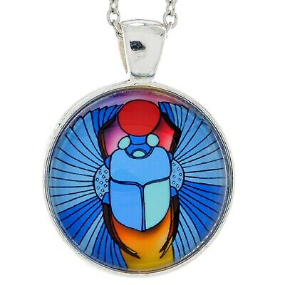Blue Scarab Beetle Necklace Sun Disc Pendant Ancient Egyptian Jewelry