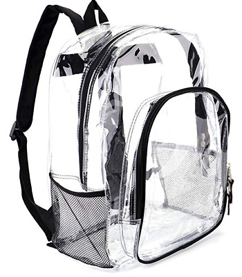 SeeThrough Transparent Heavy Duty Clear Backpack for School,Sports,Work,travel