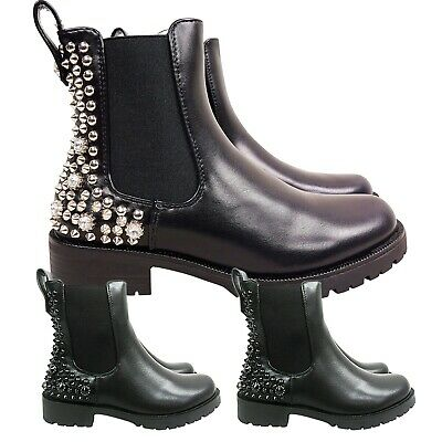 Womens Ladies Low Heel Block Studded Gusset Chelsea Ankle Boots Shoes Size Pull
