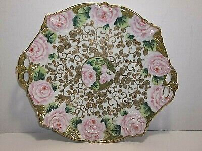 """Antique NIPPON Plate Hand Painted PINK ROSES Gold Gilt Porcelain 11.25"""" HANDLED"""