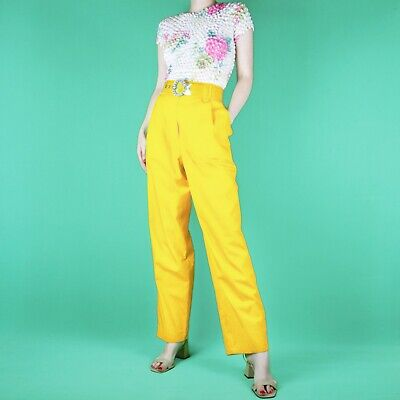 VINTAGE 80's 90's Yellow High Waist Kitsch Pleat Funky Trousers Pants M 14